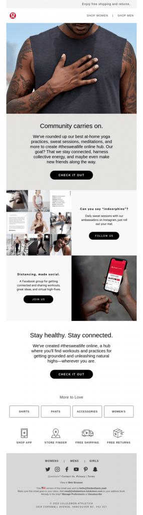 Lululemon Athletica Social Distancing Email Marketing Message