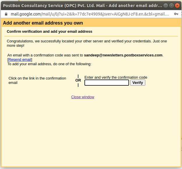 verify your email address on subdomain